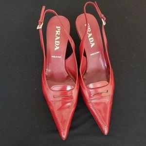 PRADA Kitten Heel Slingbacks in Dark Red Leather